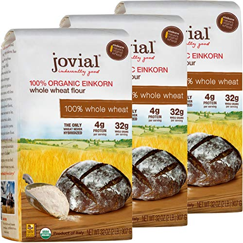 Jovial Einkorn Baking Flour | 100% Organic Einkorn Whole Wheat Flour | 100% Whole Grain | High Protein | Non-GMO | USDA Certified Organic | Delicious Taste | Product of Italy | 32 oz (3 Pack)