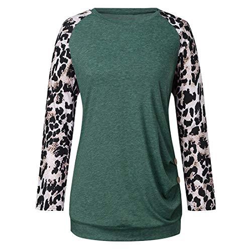 Damen T-Shirts Langarm Lose Lässig Lange Blusen Leoparden Bedruckte Raglan Tops Chic...