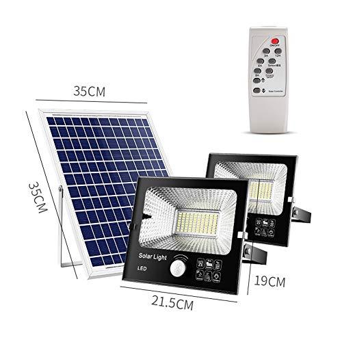 H-XH Solar buitenspot met bewegingsmelder, IP67 waterdichte outdoor-super heldere veiligheidsverlichting, schemering tot schemering op zonne-energie met afstandsbediening