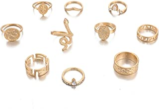 PONCTUEL ESCARGOT 9-15 Pcs Boho Snake Midi Joint Knuckle Finger Ring Set Vintage Coin Crystal Flower Rings Size 5 to 9