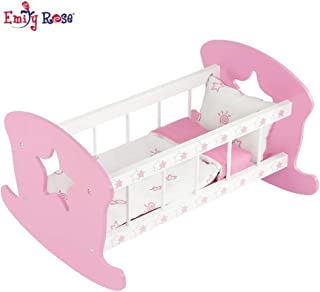 Emily Rose 18 Inch Doll Furniture for American Girl Doll Bed | Rocking Baby Doll Cradle Doll Bed, Includes Reversible Doll Bedding | Fits 15