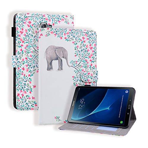"""Miagon Custodia per Samsung Galaxy Tab A6 10.1"""" 2016 SM-T580/T585,PU Pelle Cover con in Piedi Funzione e Slot per schede Documenti,Elefante Fiore"""