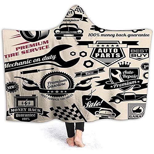 Hooded Deken Cape Draagbare Knuffel Fleece Deken, Auto Reparatie Shop Logos Monochrome Auto Silhouettes Beste Garage in de stad 50
