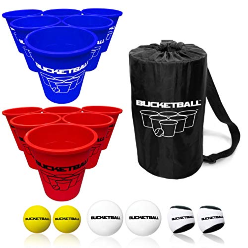 BucketBall - Team Color Edition - Combo Pack (Navy Blue/Red): Original Yard Pong Game: Best Camping, Beach, Lawn, Outdoor, Family, Adult, Tailgate Game, New England, New York, Tennessee, Buffalo