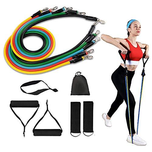 Widerstandsbänder Set Resistance Bands mit 5 Fitness Röhren Fußschlaufen, Griffe, Türanker, Expander, Übungsposter Fitness-Stretchbänder für Fitness Training Krafttraining, Homeworkout und Yoga