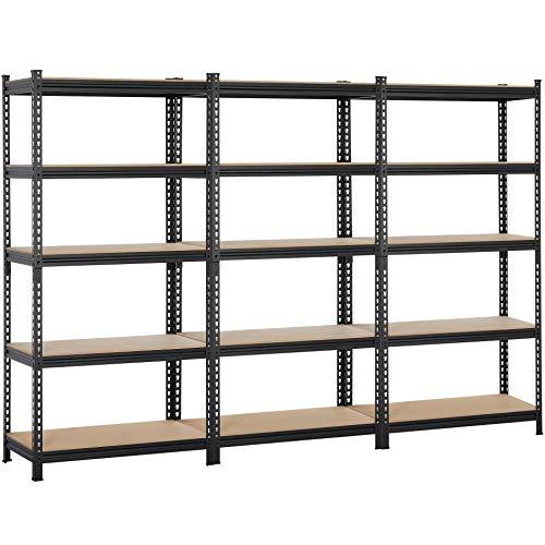 Topeakmart 5-Tier Heavy Duty Shelving Storage Unit Adjustable Garage Shelving Multipurpose Storage Racks Organiser 73H Pack of 3 Black