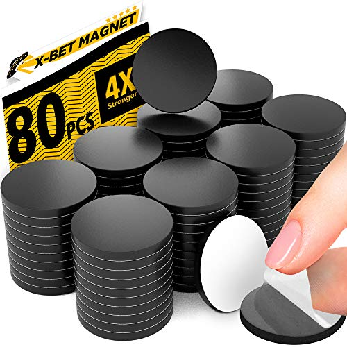 """Magnetic Dots - 80 Self Adhesive Magnet Dots (0.8"""" x 0.8"""") - Peel & Stick Magnetic Circles - Flexible Sticky Magnets - Sheets is Alternative to Magnetic Squares, Stickers, Strip and Tape"""