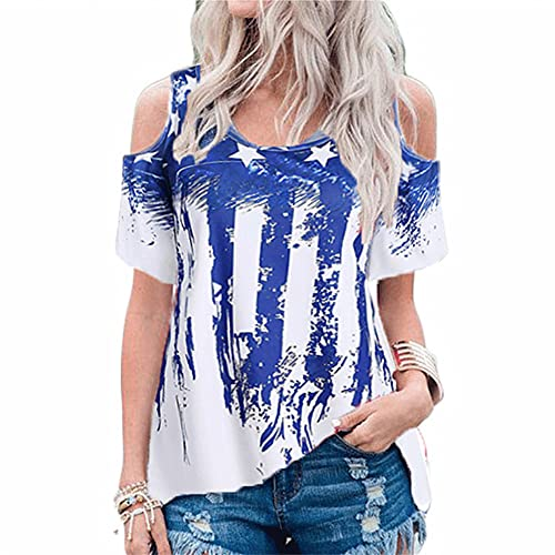 Mayntop Womens T-Shirt for Summer Tops Tie-dye USA Flag July Fourth Independence Day Cold Shoulder Plus Size Tee Shirt(A Blue,L(10))