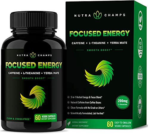 Caffeine Pills with L-Theanine for Energy & Focus - Smooth & Clean...