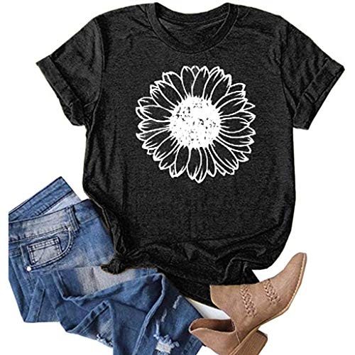 Sunflower Shirts for Women Plus Size Cute Graphic Tee Faith Tops Casual Shirts Black