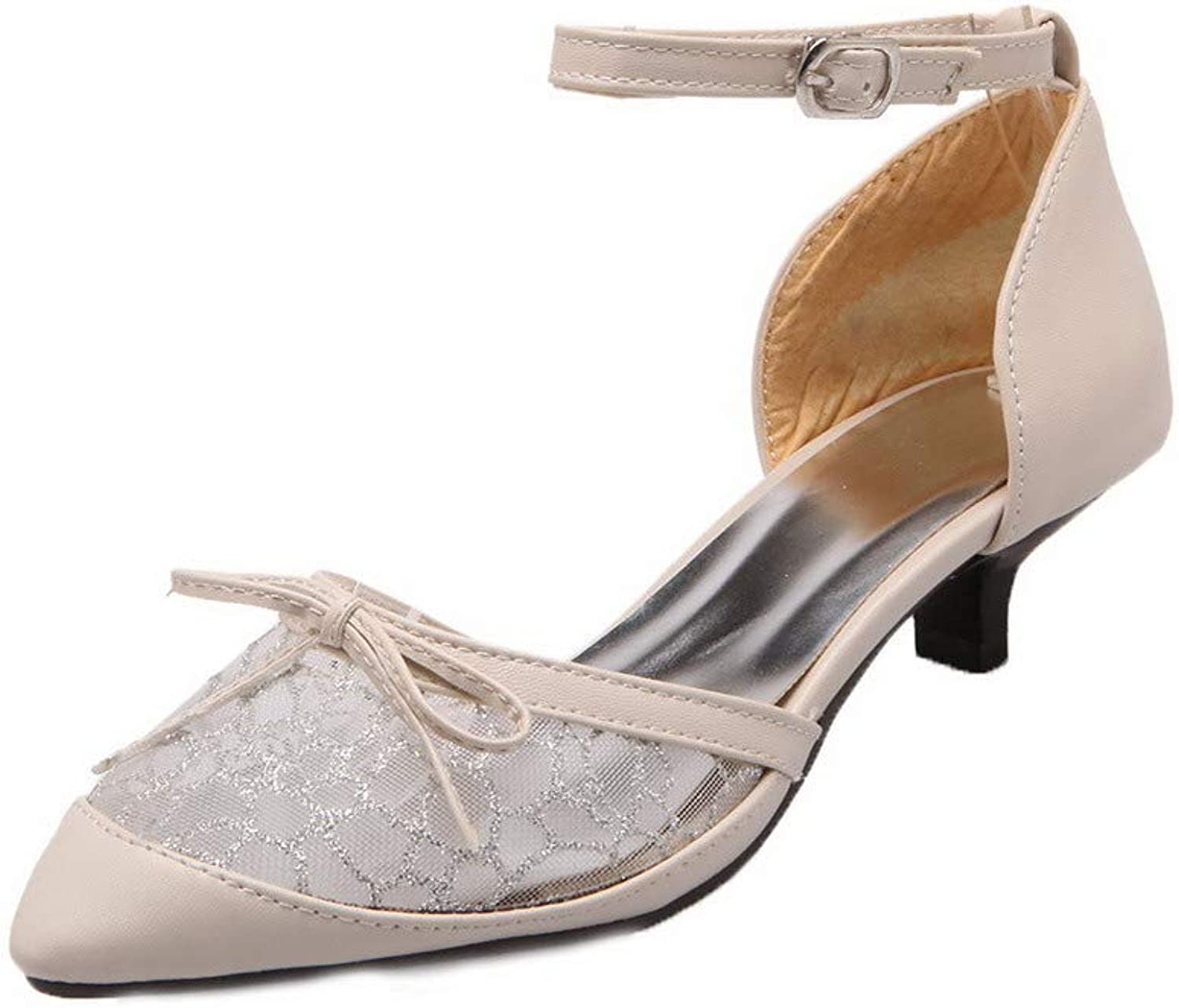 WeiPoot Women's Buckle Blend Materials Closed-Toe Low-Heels Solid Sandals,EGHLH007115