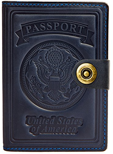 Villini - Leather US Passport Holder Cover RFID Blocking ID Card Wallet - Travel Case (Navy Blue)