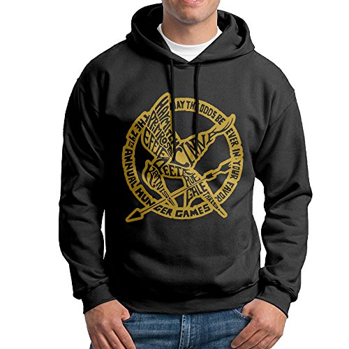 Men's Hunger Games Mocking Jay Symbol Pullover Hooded Sweatshirt Black