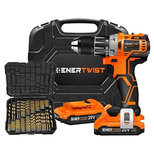EnerTwist 20V Max Cordless Brushless Drill Driver and 230-Pieces Titanium Drill Bit Coated HSS Conventional 118° Tip Combo Kit