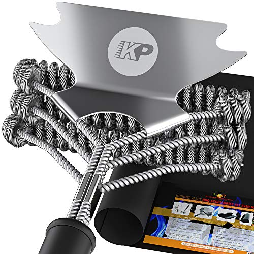 3 In 1 Dream Set - Bristle Free Grill Brush and Scraper +2 Heavy Duty Grill Mats |Best Barbecue Grilling Accessories Cleaner Set | Stainless Steel Wire Safe BBQ Cleaning Brush for All Grates