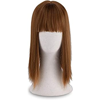 """REECHO 13"""" Synthetic Hair Topper with Bangs Wiglets 3 Clips in Straight Hair Extensions Hair Closure Piece Hairpieces for Women - Linen"""