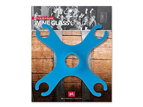 Trendfinding 1 Weinglashalter Blau für 4 Gläser Weinservierständer Aufsatz für Weinflasche