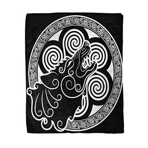 rouihot 50x60 Inches Flannel Throw Blanket Wolf on Celtic Style Howling Wolf in Celtic Ornament Isolated on White Home Decorative Warm Cozy Soft Blanket for Couch Sofa Bed