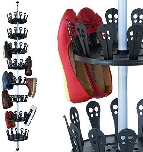 A-Generic Espacio Extensible de Metal Shaegal para 96 Zapatos Ajustable Altura 80-280 CM Zapato Giratorio Carrusel Zapato de Zapato Gabinete de Zapatos Estante Telescópico