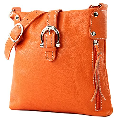 modamoda de -T04 - ital Umhängetasche Schultertasche aus Leder, Farbe:Orange