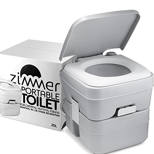 Zimmer Comfort Portable Toilet 5 Gallon Capacity-  Camping and RV toilet