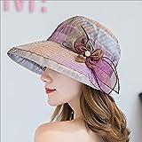 DYWSGA Sombrero de ala ancha de la organza de las mujeres, sombrero de gasa de organza multicolor, gasa de malla, sombrero de boda de fiesta de té perfumado, iglesia Kentucky Derby Hat, personalidad e