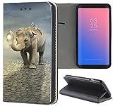 Samsung Galaxy A5 2017 A520 Hülle Premium Smart Einseitig Flipcover Hülle Galaxy A5 2017 Flip Hülle Handyhülle Samsung A5 2017 Motiv (1119 Elefant Lemur Tier Braun Grau Afrika)