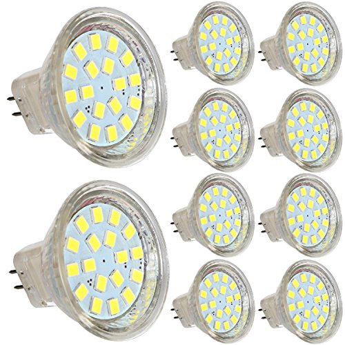 GreenSun LED Lighting 10X Neverland AC/DC 12-30V MR11 GU4 2.5W 18 * 2835SMD LED Spot Gluehbirne Strahler Lampe Leuchte Kaltweiss