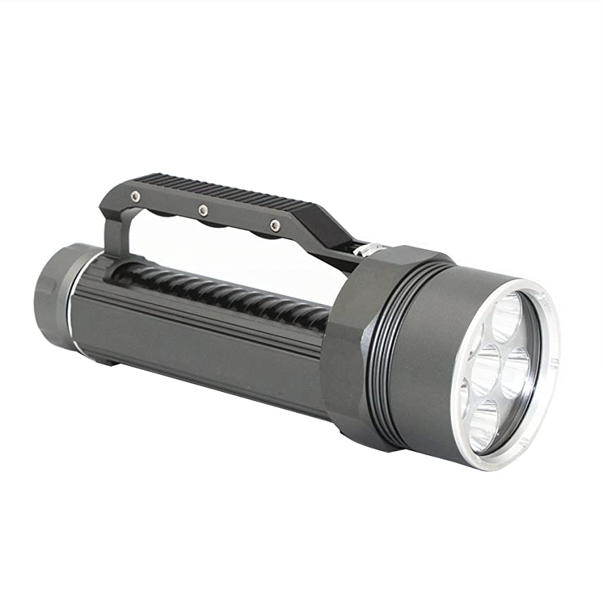 ネクタイ悲観的聴くKC Fire ダイビングライト 懐中電灯 6000ルーメン XM-L2*6LED 120mまで防水仕様 潜水用ライト 無階段調整可能 ストラップ付き 2*26650電池(付属しておりません) グレー&ブラック