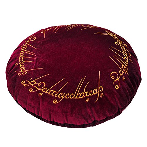 Elbenwald Lord of The Anillos Almohada de un Motivo de Anillo Bordado Redondo Ø 43 cm Terciopelo Rojo