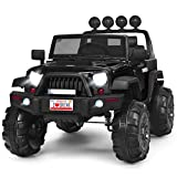 Costzon Ride on Truck, 12V Battery Powered Electric Vehicle w/ 2.4G Remote Control, 3 Speeds, LED Lights, Horn, MP3, Music, Double Magnetic Doors, Safety Belt, Ride on Car for Kids (Black)