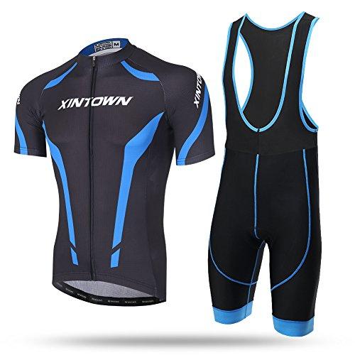 Xintow 2017MensCyclingJersey Summer Bib Shorts RoadBicycleClothes GELPadShort Sleeve Bike RidingJacket Shirts 223 (Bib Shorts Suit, 5XL)