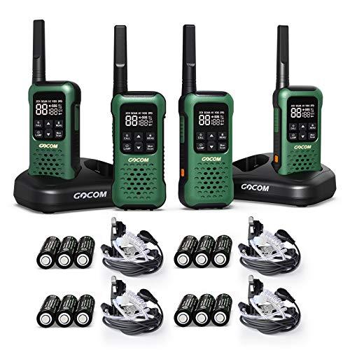 GOCOM G9 Waterproof Walkie Talkie Long Range, Floating Portable Two Way Radio, NOAA Weather Alert,SOS,Flashlight, Rechargeable 2 Way Raido for Adults (4 Pack)