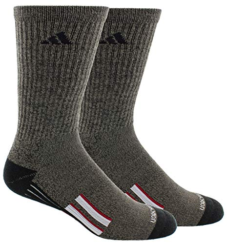 adidas Men's Climalite X II Crew Socks (2-Pack), Black Graphite Marl/Black/Light Onix/Collegiate Burgundy, Large
