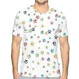 Patrón sin Costuras de Vector de Manga Corta para Hombres con Huellas de Gato o Perro Camiseta de algodón XL