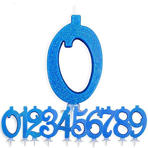 Candeline Compleanno Particolari Numeri Grandi 0 BLU |...