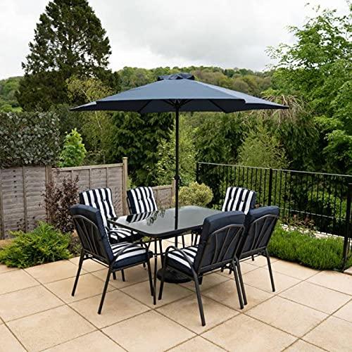 HECTARE Hadleigh Garden Outdoor Patio Table/Chair/Parasol Dining Furniture Set (6 Seater, Navy)