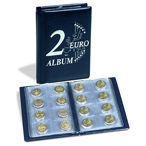 Leuchtturm 350454 Münzalbum Route 2-Euro| Taschenalbum für 48 2€-Münzen | Mit 2 Euro Deckelprägung | blau