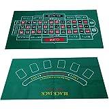 MYA - Tovaglia da gioco double-face, motivo: roulette russa e tappeto da gioco per Blackjack, 1 pezzo