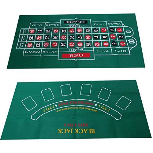 WT-DDJJK Spiel Wallpaper, doppelseitige Spieltischdecke Russisches Roulette & Blackjack Gambling Table Mat