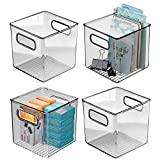 mDesign Plastic Home Office Storage Organizer Container with Handles - for Cabinets, Drawers, Desks, Workspace - Holds Pens, Pencils, Highlighters, Notebooks - 6' Cube, 4 Pack - Smoke Gray