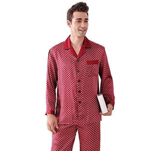 Pajama for Men Stylish,100% Silk Pajamas Long-Sleeved Trousers Two-Piece Suit,Light Luxury Silk Plaid Homewear,Red,M