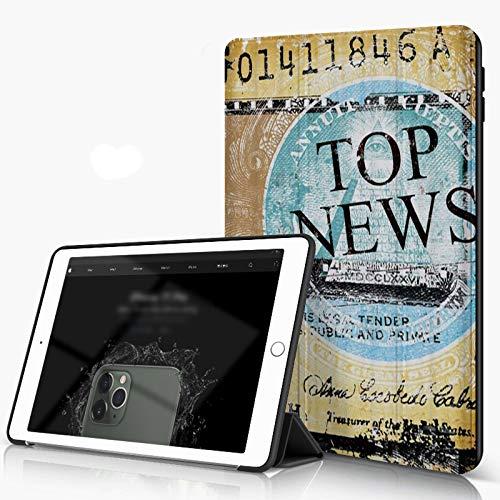 She Charm Funda para iPad 9.7 para iPad Pro 9.7 Pulgadas 2016,Cierre de Hoja de Papel Viejo con News Word,Incluye Soporte magnético y Funda para Dormir/Despertar
