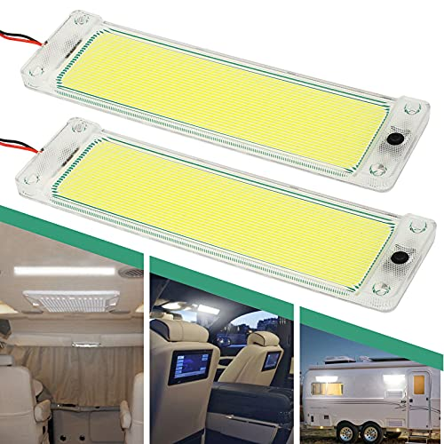 2PCS Auto COB LED Innenbeleuchtung, 12V-60V DC LED Light Dome Lampenkarte mit 108 COB Wick Magnetic Install Schnalle, extrem helles Auto-Innenraum Cob LED-Panel für PKW-LKW Elektroauto Van