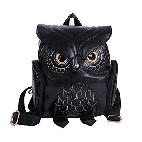 Modischer Eulen-Rucksack für Damen und Mädchen, Mini-Rucksack aus PU-Leder in Schwarz weiß B9 Schwarz