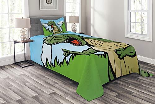 ABAKUHAUS Dinosaurier Tagesdecke Set, Cartoon T-Rex Lustig, Set mit Kissenbezügen Sommerdecke, für Einselbetten 170 x 220 cm, Dunkelgrün Hellblau Grün