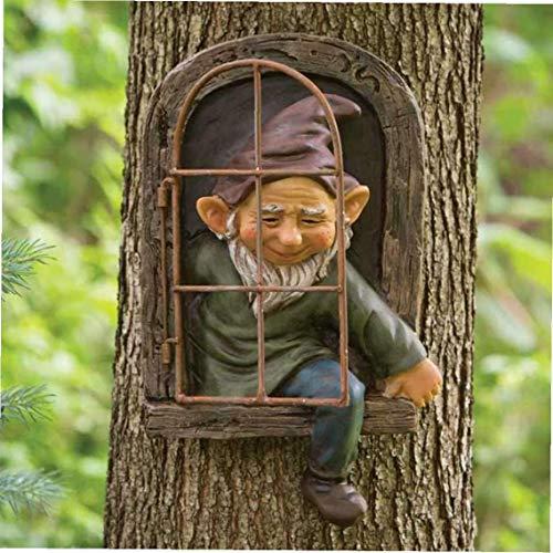 Enano de jardín Figura Enano, árbol del Ornamento Decorativo Miniatura Regalos de cumpleaños de la Resina para niños al Aire Libre