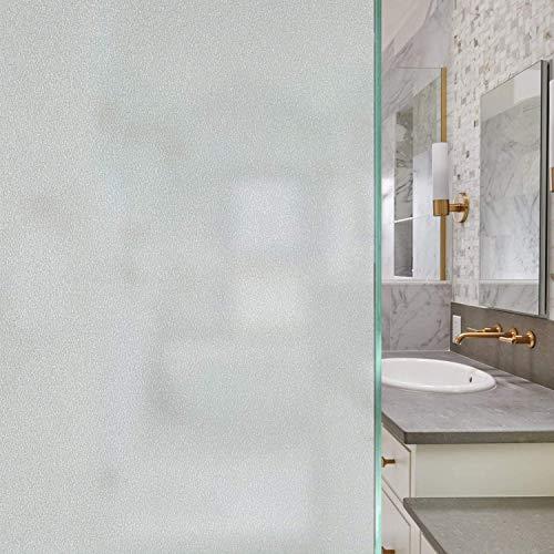 Fensterfolie Selbsthaftend, Sichtschutzfolie Fenster Milchglasfolie Statische Haftende Blickdicht Privatsphäre Scheibenfolie Anti-UV & Sichtschutz für Bad Badzimmer oder Büro Zuhause - [44,5x200 cm]