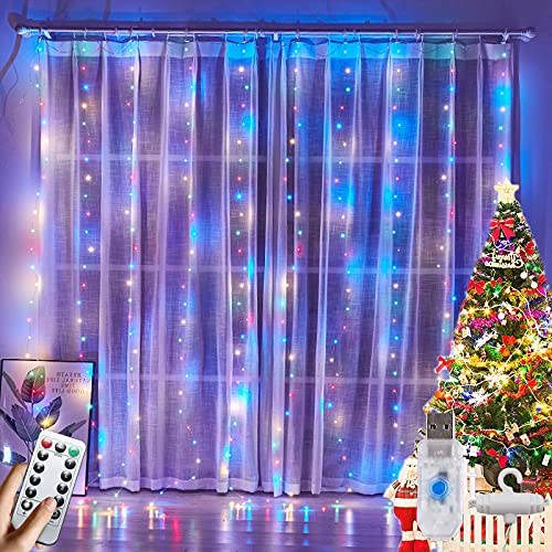 Luces Guirnalda LED de Cortina, 300Leds Cadena de Luz Cascada Interior USB 8 Modos Parpadear Tiras Hadas Decoración para Patio,Techo,Habitación,Cuarto con Gancho y Control Remoto [3x3m]
