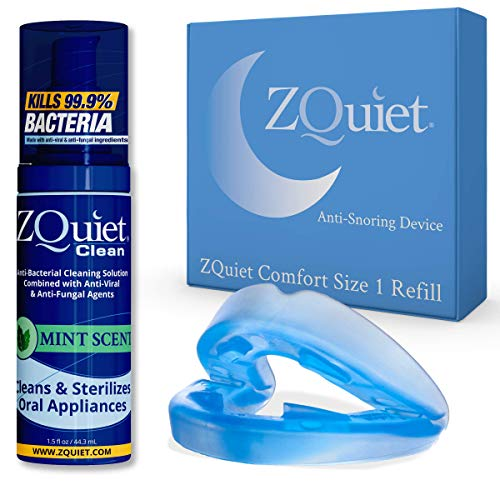 ZQUIET Anti-Snoring Mouthpiece Solution, Comfort Size #1 (Single Device,No Storage Case) + Anti-Bacterial Cleaner (1.5oz Bottle)